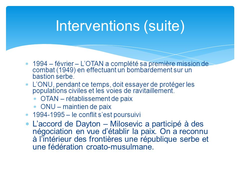 Interventions (suite)
