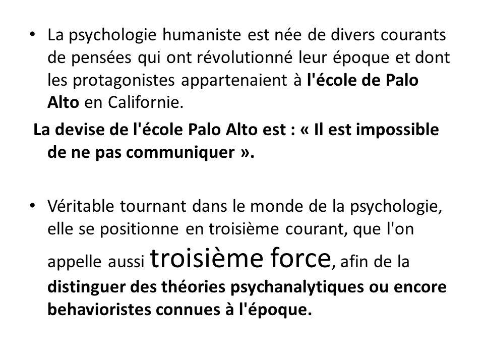 La psychologie humaniste est née de divers courants de pensées qui ont révolutionné leur époque et dont les protagonistes appartenaient à l école de Palo Alto en Californie.