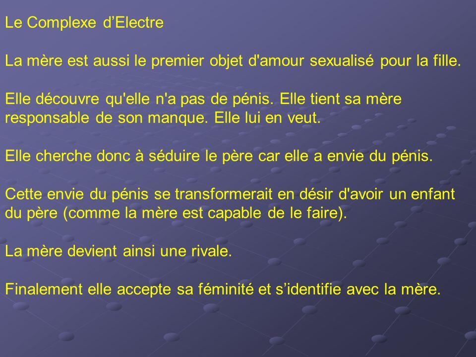 Le Complexe d'Electre La mère est aussi le premier objet d amour sexualisé pour la fille.