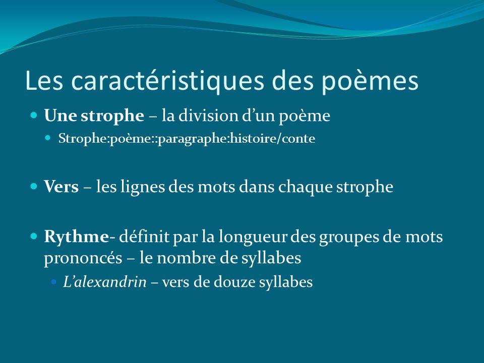 Les caractéristiques des poèmes