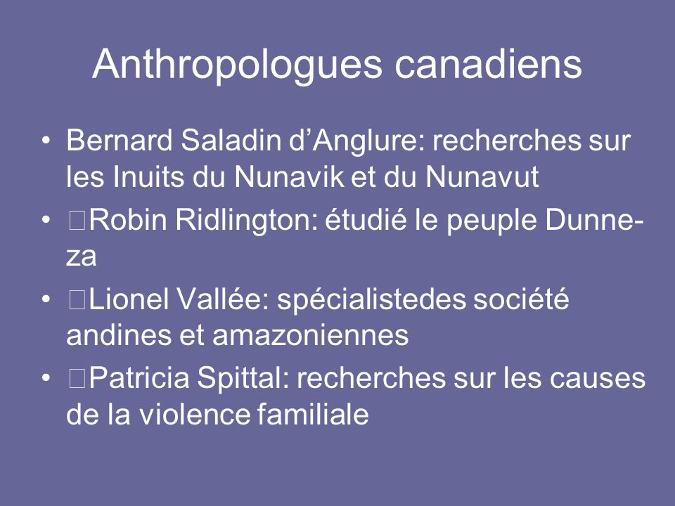 Anthropologues canadiens