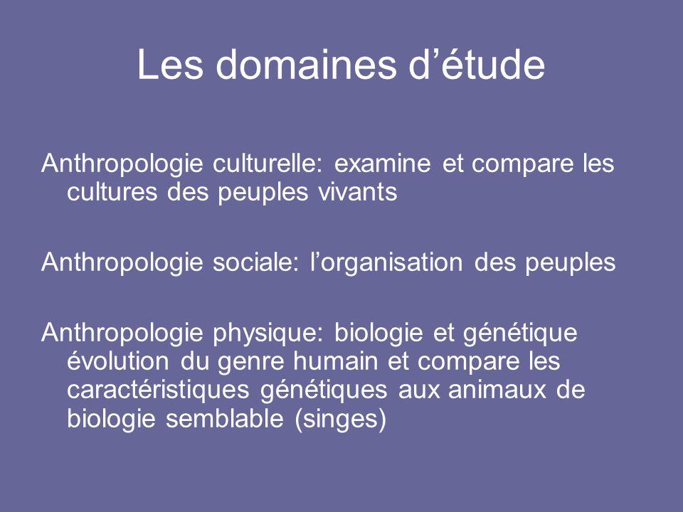 Les domaines d'étude Anthropologie culturelle: examine et compare les cultures des peuples vivants.