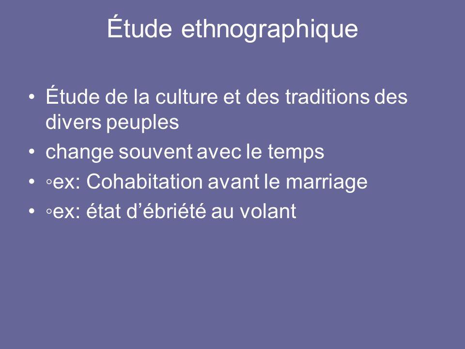 Étude ethnographique Étude de la culture et des traditions des divers peuples. change souvent avec le temps.