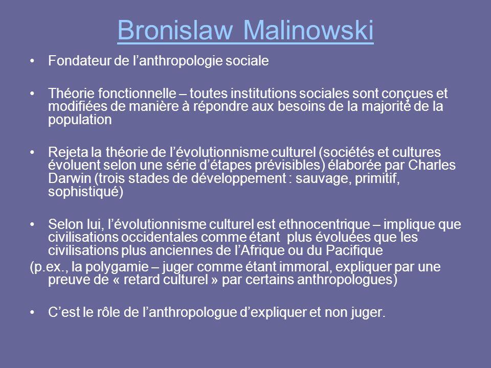 Bronislaw Malinowski Fondateur de l'anthropologie sociale