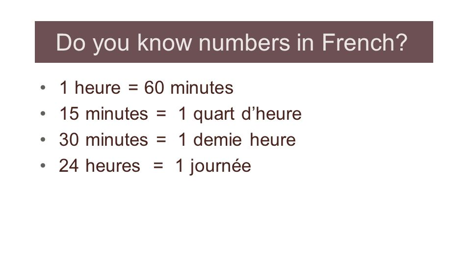 Do you know numbers in French