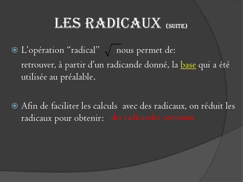 Les radicaux (suite) L'opération radical nous permet de:
