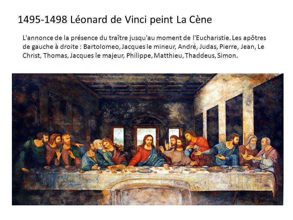 1495-1498 Léonard de Vinci peint La Cène