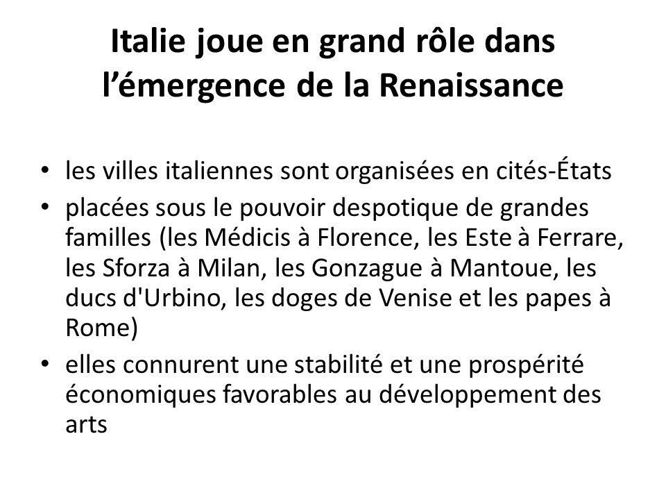 Italie joue en grand rôle dans l'émergence de la Renaissance