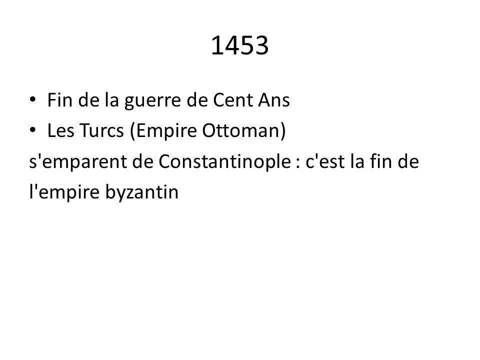 1453 Fin de la guerre de Cent Ans Les Turcs (Empire Ottoman)