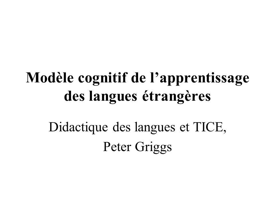 Modèle cognitif de l'apprentissage des langues étrangères