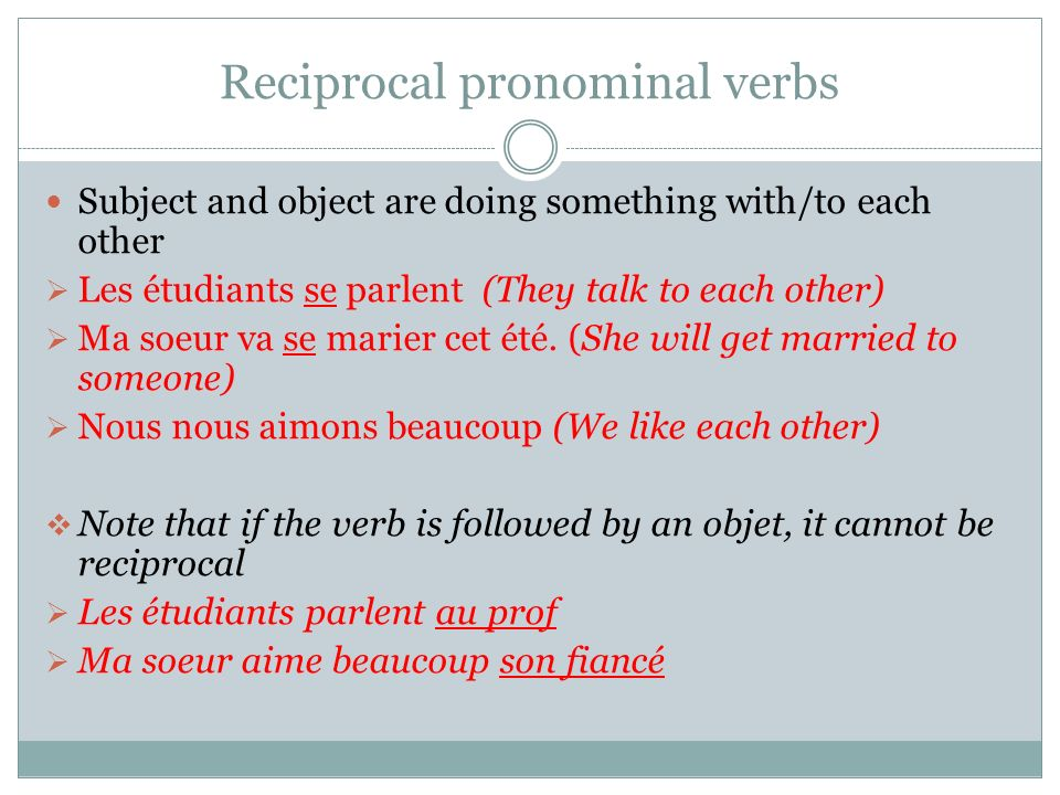 Reciprocal pronominal verbs