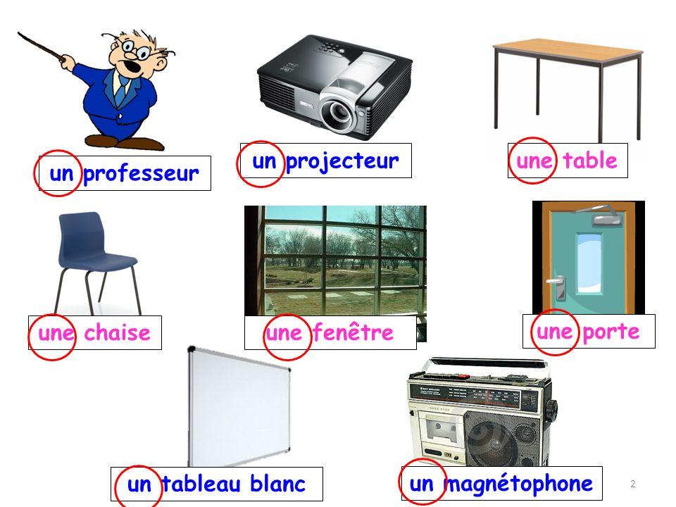 un projecteur une table un professeur une chaise une fenêtre une porte