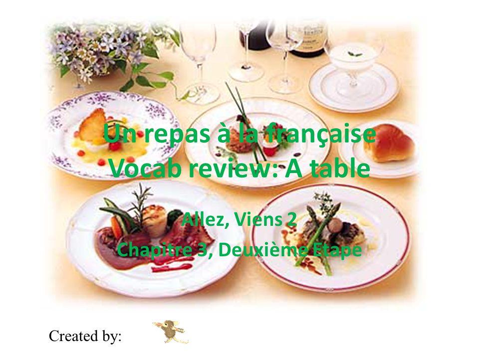 Un repas à la française Vocab review: A table