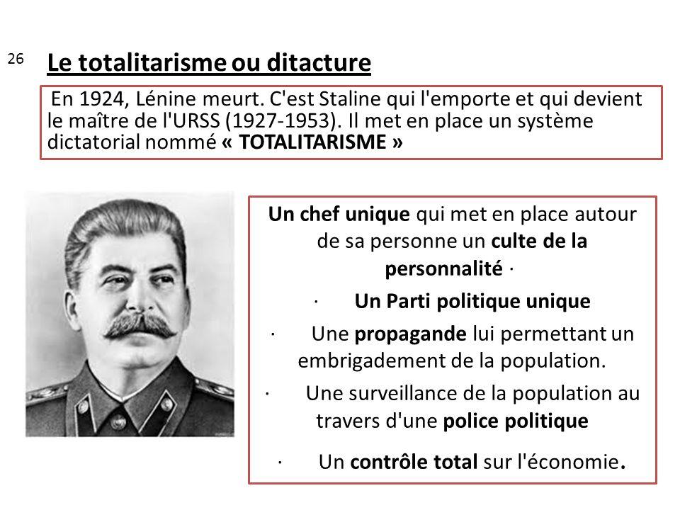 Le totalitarisme ou ditacture