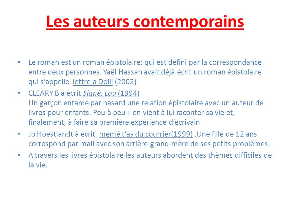 Les auteurs contemporains