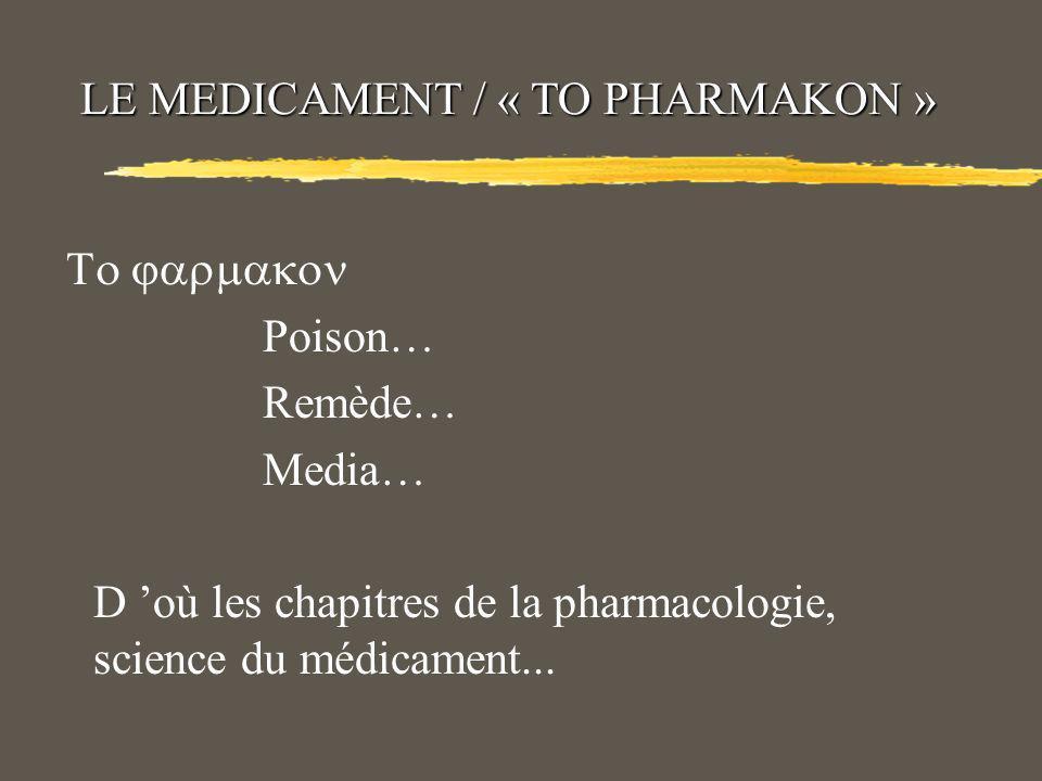 LE MEDICAMENT / « TO PHARMAKON »