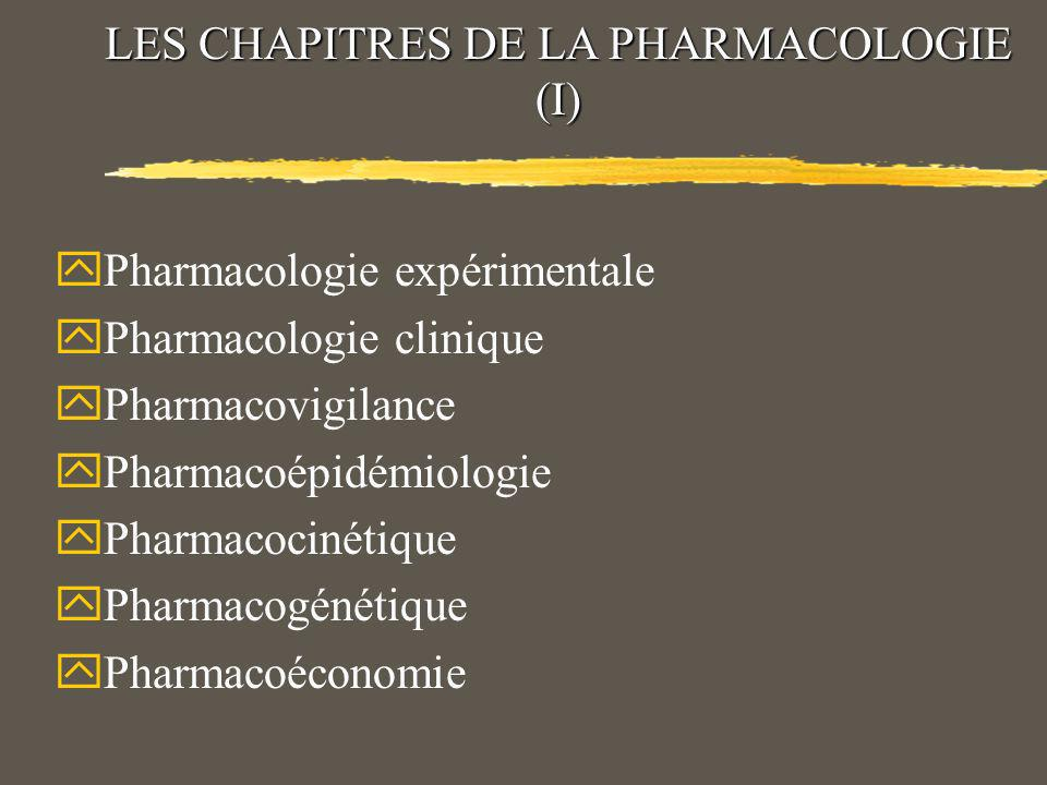 LES CHAPITRES DE LA PHARMACOLOGIE (I)