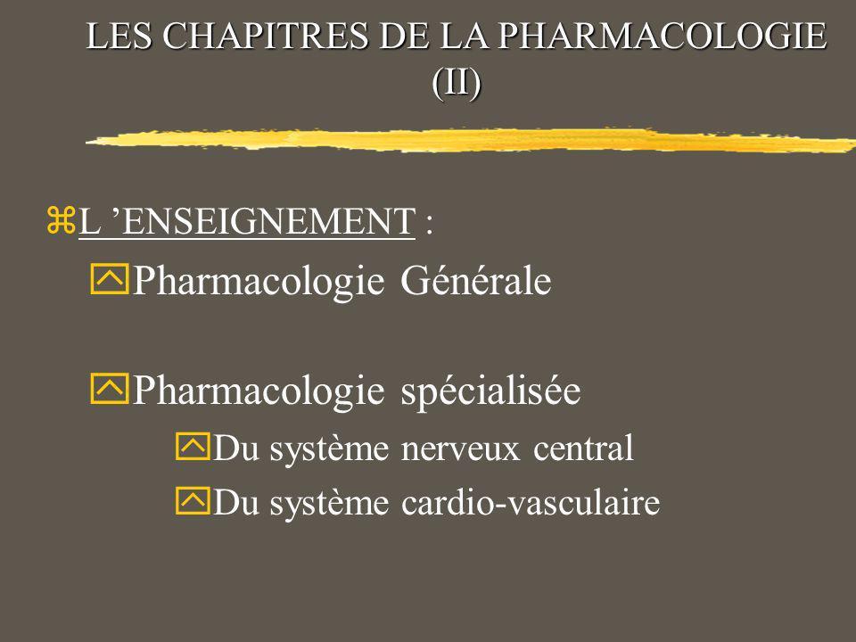 LES CHAPITRES DE LA PHARMACOLOGIE (II)
