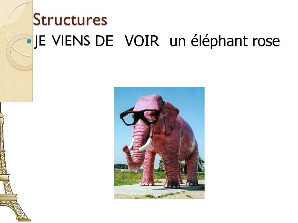 Structures JE VIENS DE VOIR un éléphant rose