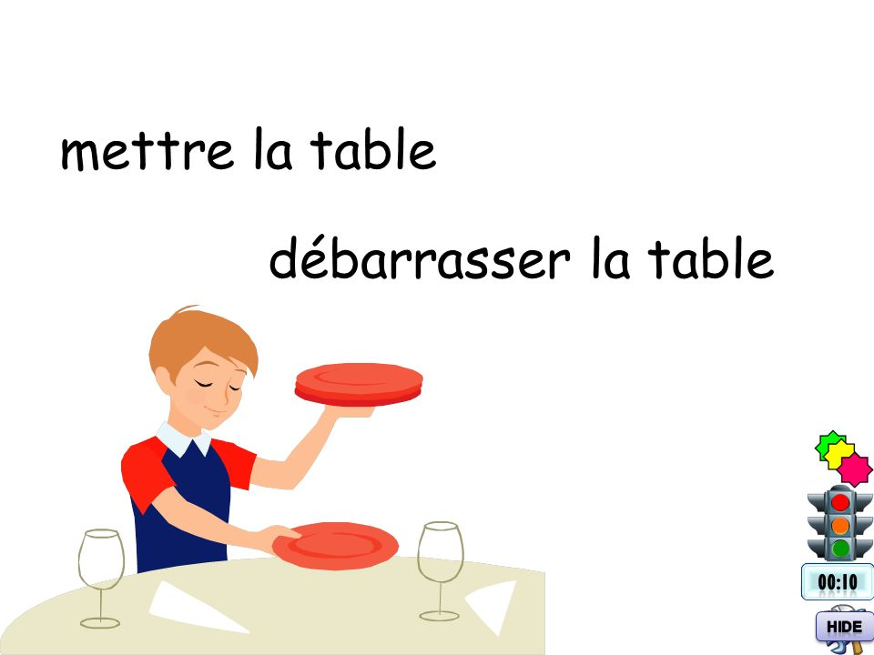 mettre la table débarrasser la table 00:10 Hide