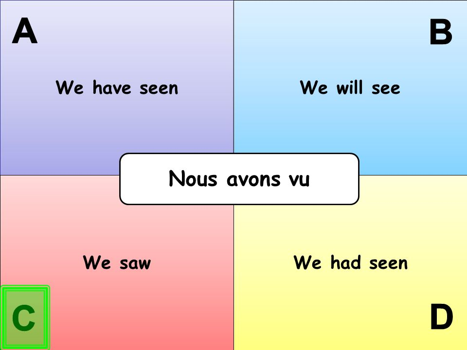 We have seen We will see A B Nous avons vu We saw We had seen C D