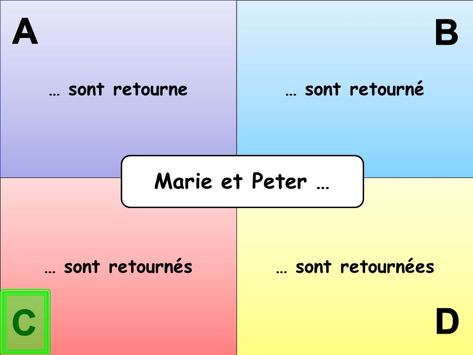 A B D C Marie et Peter … … sont retourne … sont retourné
