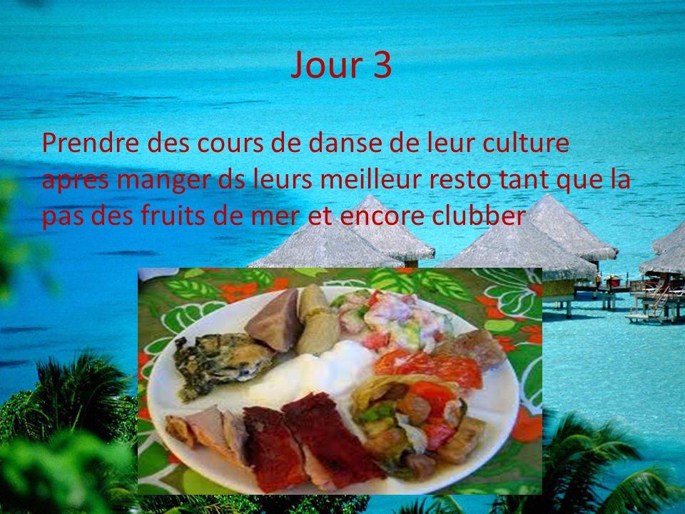 Jour 3 Prendre des cours de danse de leur culture apres manger ds leurs meilleur resto tant que la pas des fruits de mer et encore clubber.