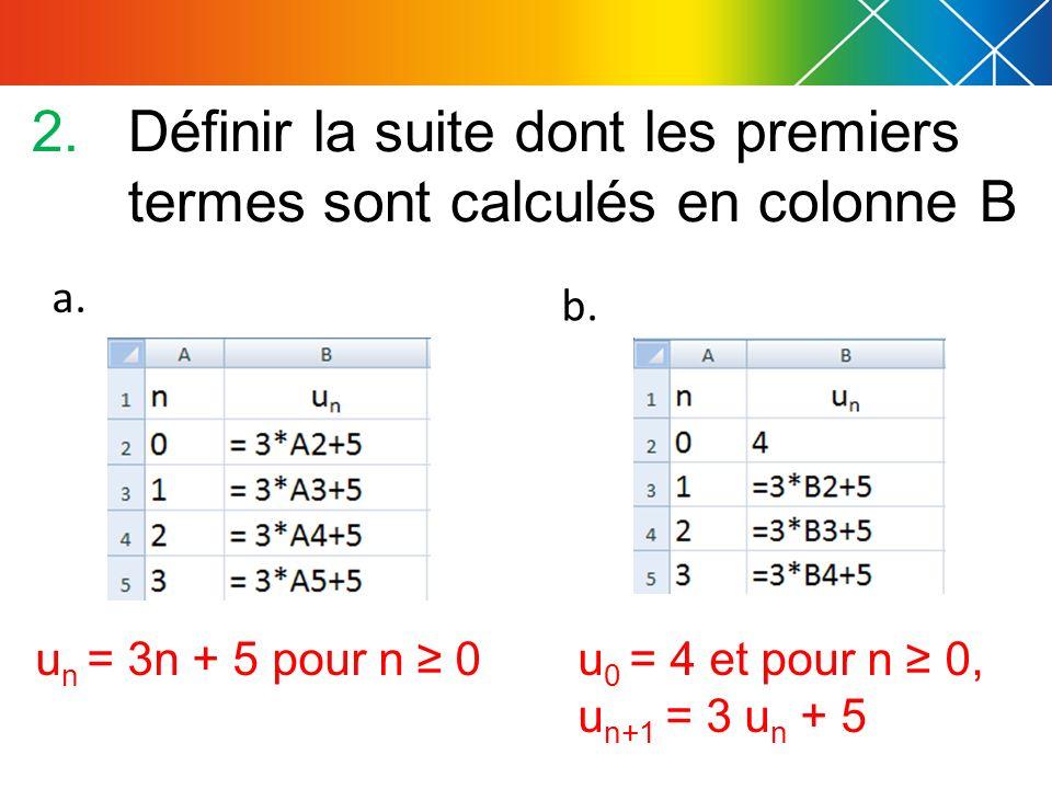 Définir la suite dont les premiers termes sont calculés en colonne B