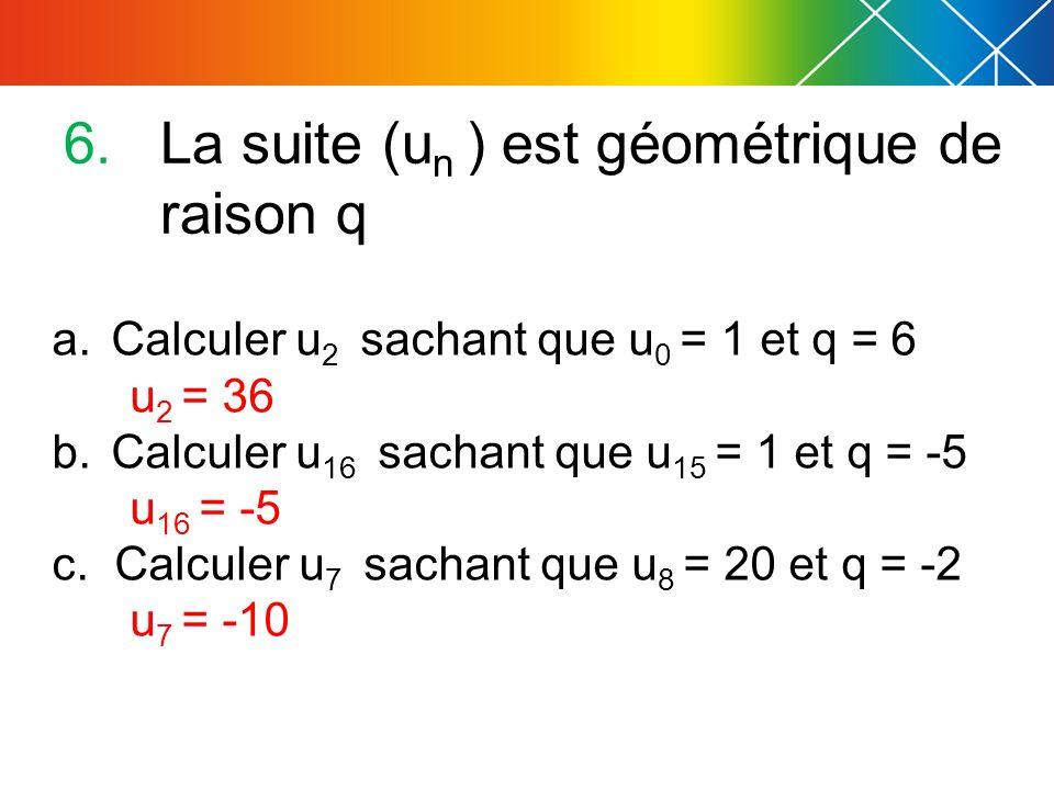 La suite (un ) est géométrique de raison q
