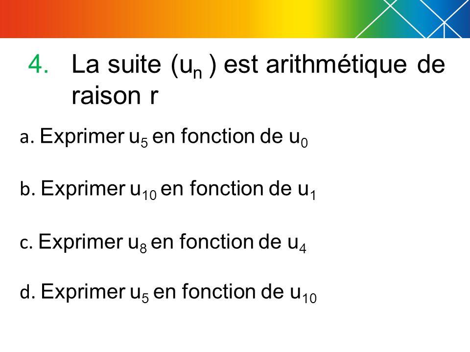 La suite (un ) est arithmétique de raison r