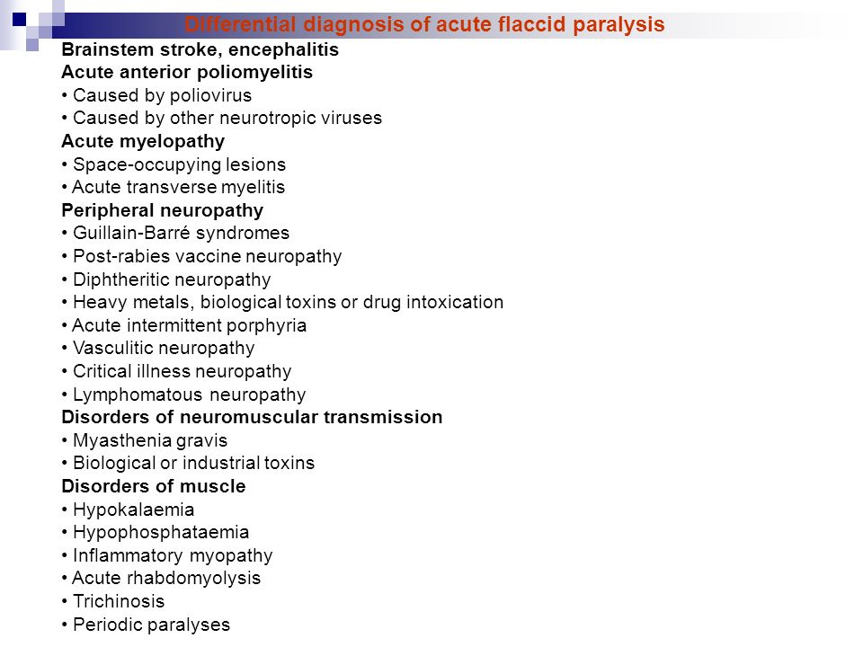 Differential diagnosis of acute flaccid paralysis