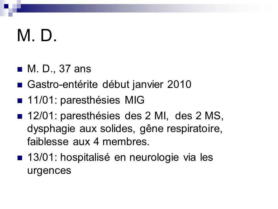M. D. M. D., 37 ans Gastro-entérite début janvier 2010