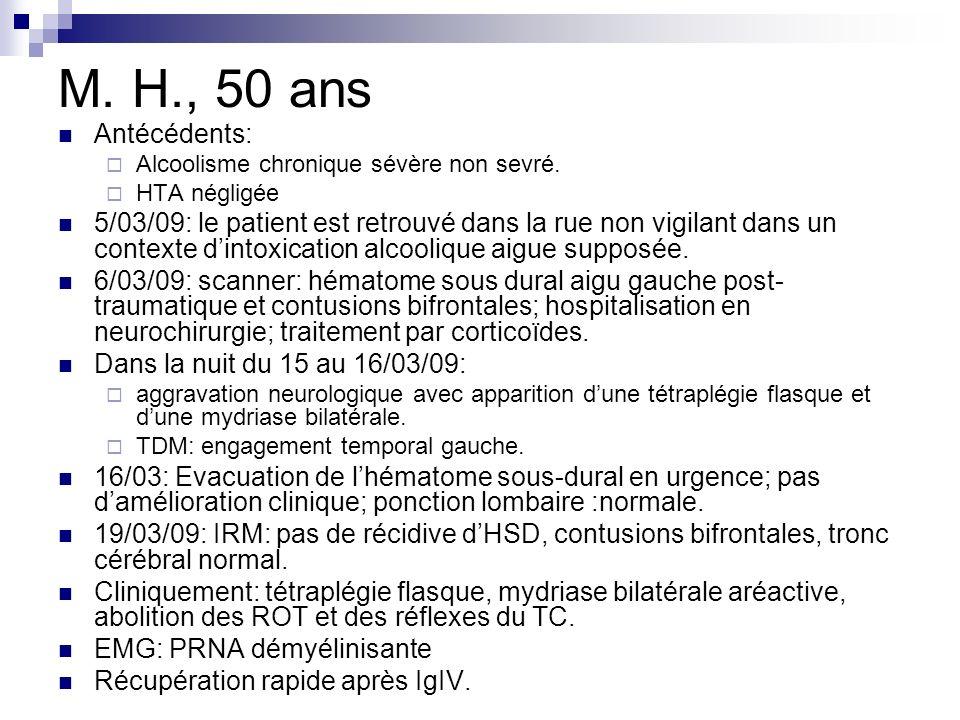 M. H., 50 ans Antécédents: Alcoolisme chronique sévère non sevré. HTA négligée.