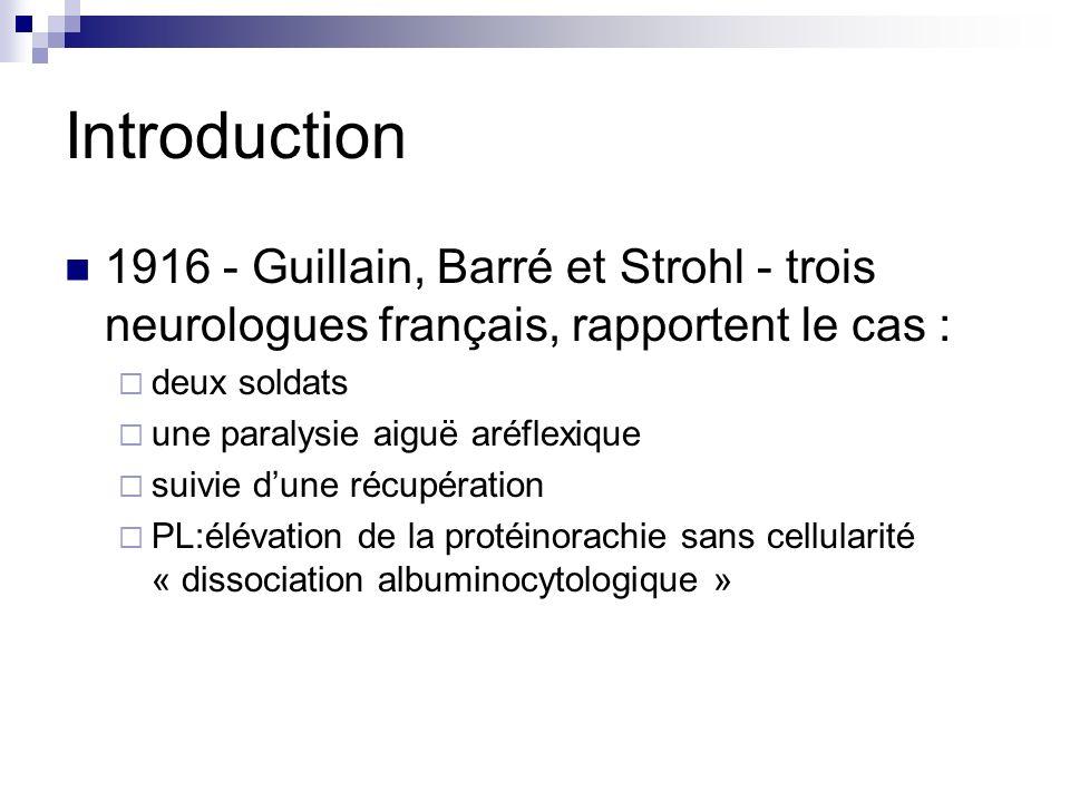 Introduction 1916 - Guillain, Barré et Strohl - trois neurologues français, rapportent le cas : deux soldats.