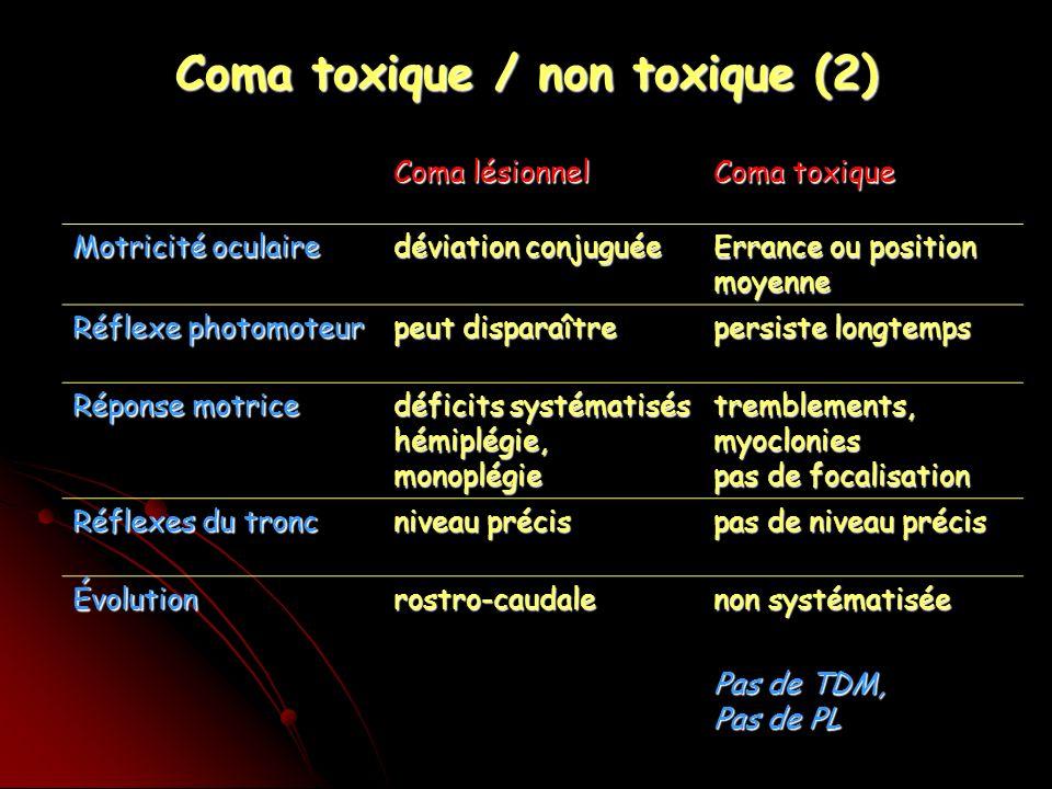 Coma toxique / non toxique (2)