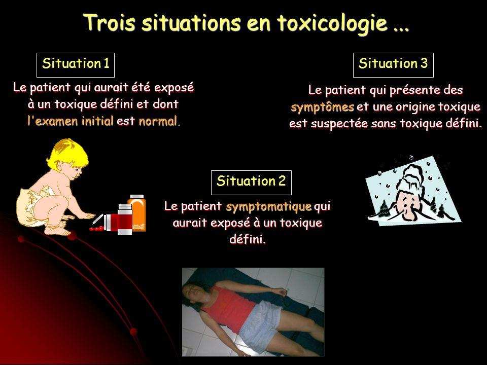 Trois situations en toxicologie ...