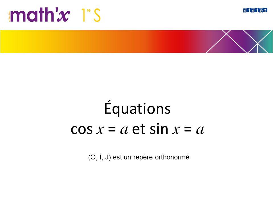 Équations cos x = a et sin x = a