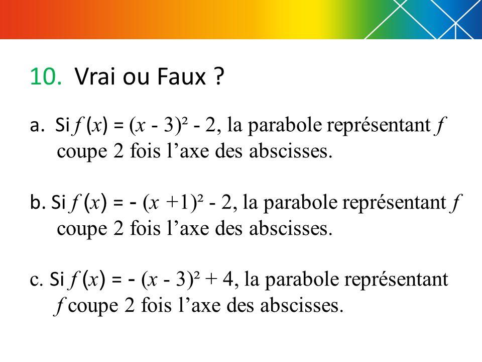 Vrai ou Faux a. Si f (x) = (x - 3)² - 2, la parabole représentant f coupe 2 fois l'axe des abscisses.