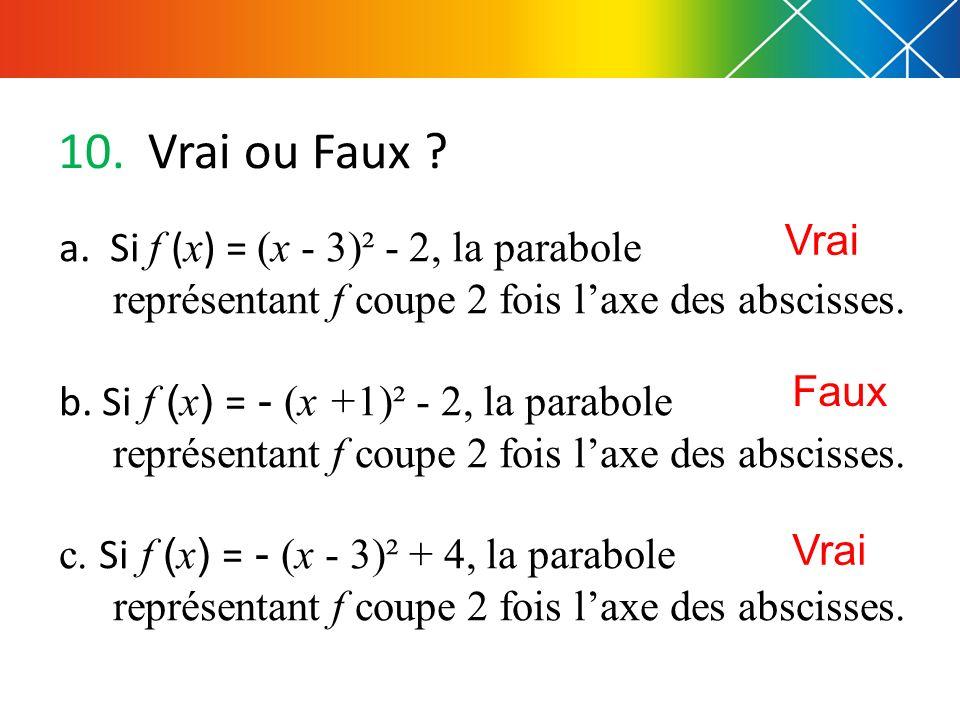 Vrai ou Faux Vrai. a. Si f (x) = (x - 3)² - 2, la parabole représentant f coupe 2 fois l'axe des abscisses.