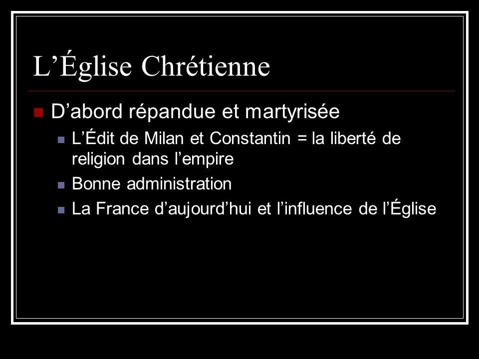 L'Église Chrétienne D'abord répandue et martyrisée
