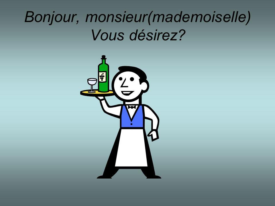 Bonjour, monsieur(mademoiselle) Vous désirez