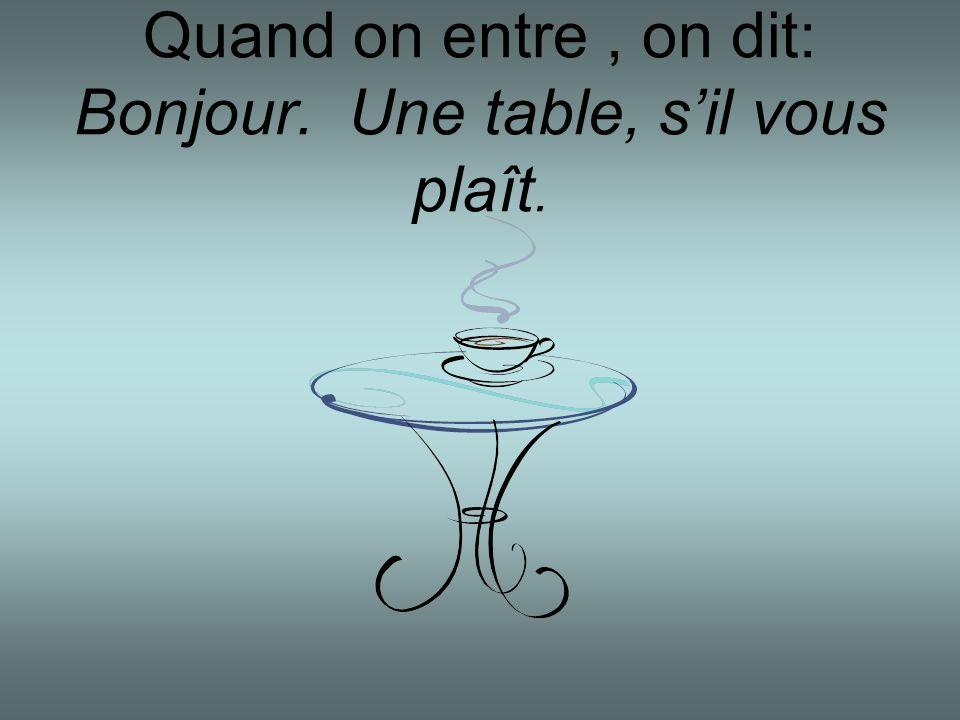 Quand on entre , on dit: Bonjour. Une table, s'il vous plaît.