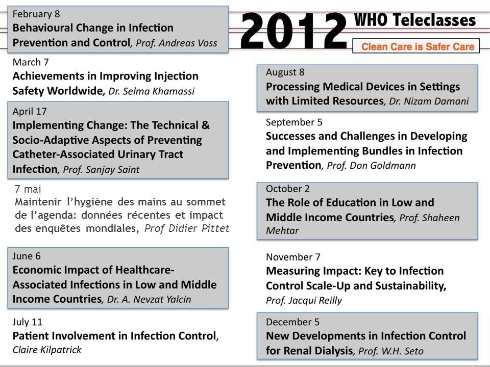 7 mai Maintenir l'hygiène des mains au sommet de l'agenda: données récentes et impact des enquêtes mondiales, Prof Didier Pittet.