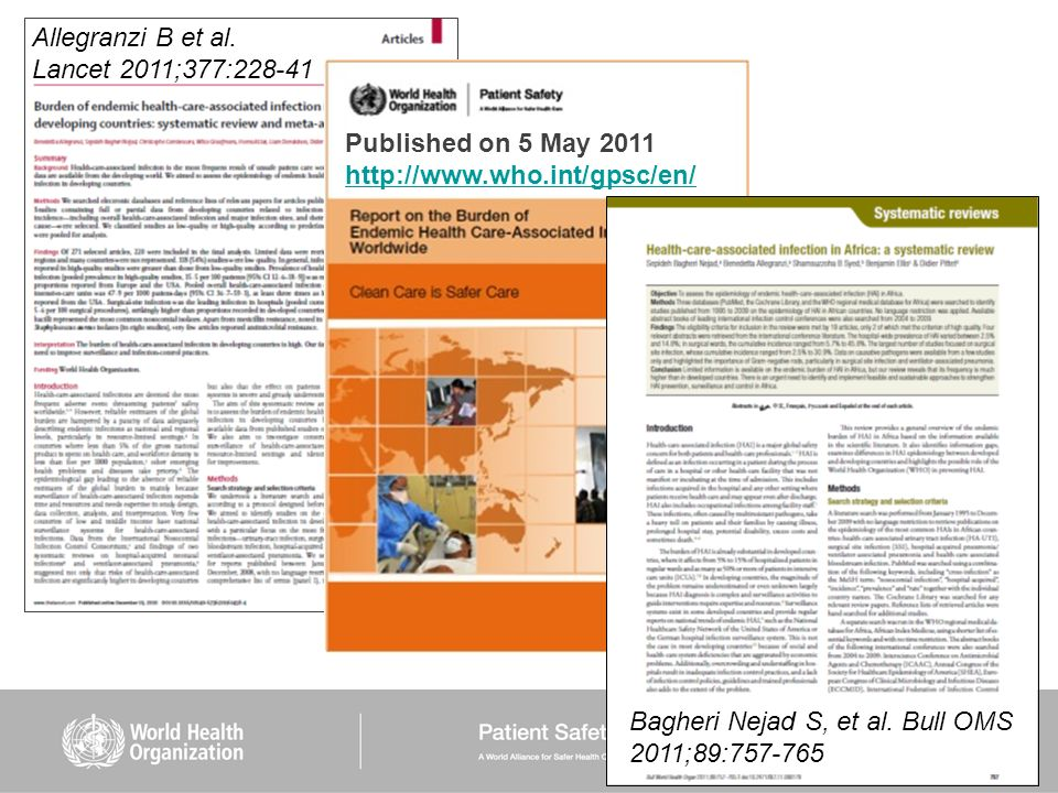 Allegranzi B et al. Lancet 2011;377:228-41. Published on 5 May 2011.