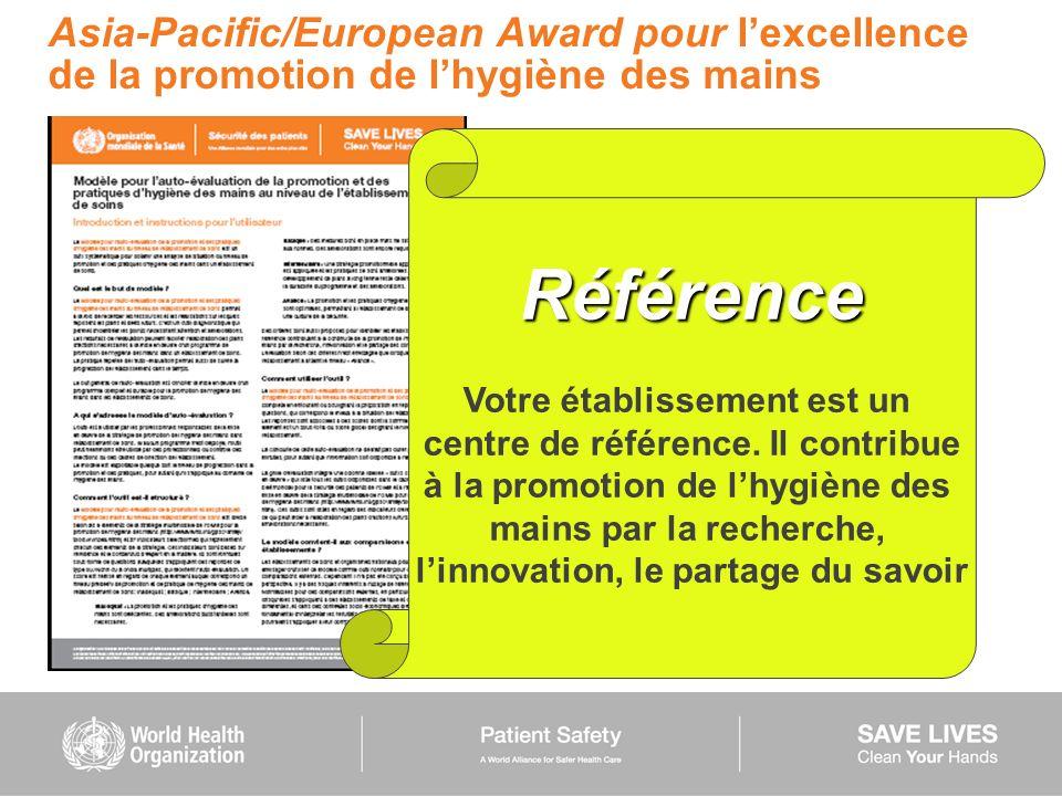 Asia-Pacific/European Award pour l'excellence de la promotion de l'hygiène des mains