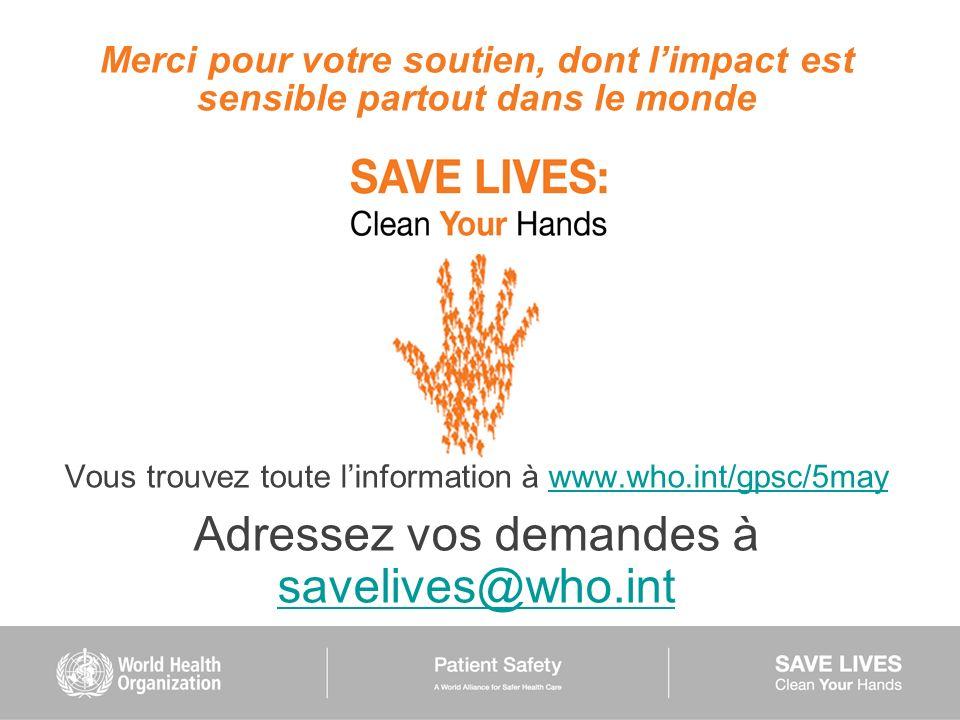 Adressez vos demandes à savelives@who.int
