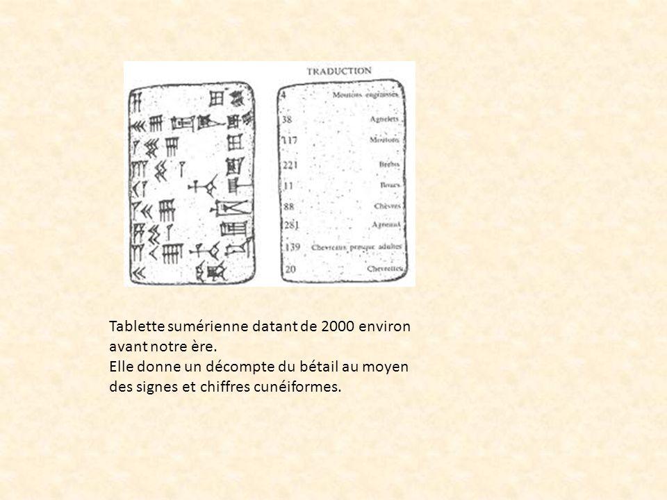Tablette sumérienne datant de 2000 environ avant notre ère