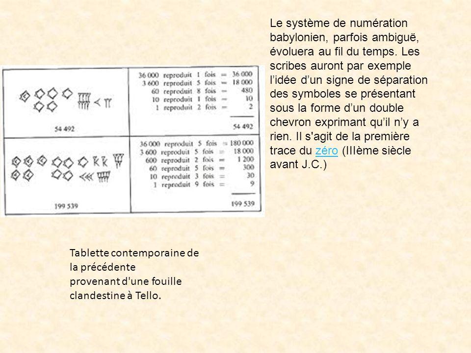 Le système de numération babylonien, parfois ambiguë, évoluera au fil du temps. Les scribes auront par exemple l'idée d'un signe de séparation des symboles se présentant sous la forme d'un double chevron exprimant qu'il n'y a rien. Il s agit de la première trace du zéro (IIIème siècle avant J.C.)