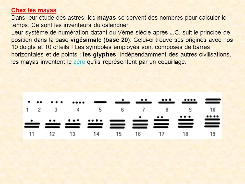 Chez les mayas Dans leur étude des astres, les mayas se servent des nombres pour calculer le temps. Ce sont les inventeurs du calendrier.