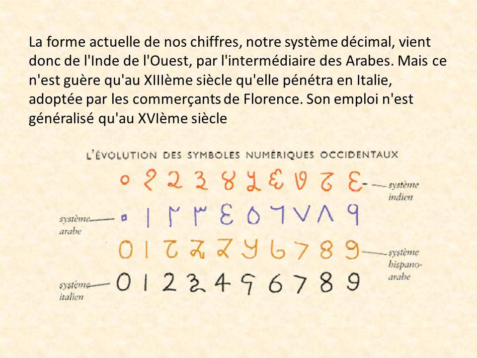 La forme actuelle de nos chiffres, notre système décimal, vient donc de l Inde de l Ouest, par l intermédiaire des Arabes.